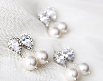 Bridesmaid Earrings Set of 3,4,5,6,7,8,9,10,11,12 Bridesmaid Gift Set Bridesmaid Jewelry Set Pearl Wedding Jewelry Set Bridal Party Gifts
