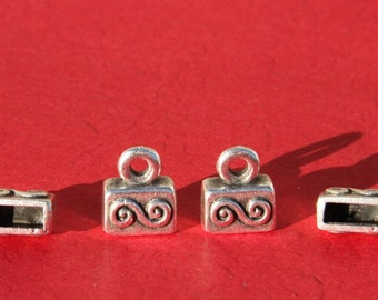 6/2 MADE IN EUROPE 2 metal cord ends, flat cord ends, 9mm cord end, 9mm end caps (X6002AS)