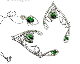 Lionheart Pendant Lionheart pendant wire wrapped replica final fantasy jewelry elven jewelry set for elf costume green and silver shades elf ears and pendant audiocablefo
