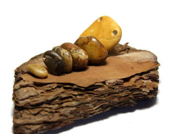 Drilled Beach Stones - Beach Stones Beads Pebbles Jewelry- River Rocks Woodland Bead Work Artisan Supplies- Repurposed Pebble Rocks - Shabby