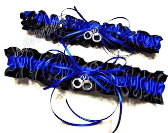 Royal blue and black police wedding bridal garter set with handcuff charms.  Thin-Blue Line