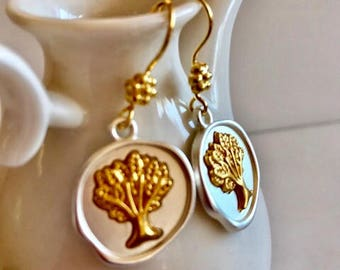Tree of Life Earrings- Silver Wax Seal Style Earrings