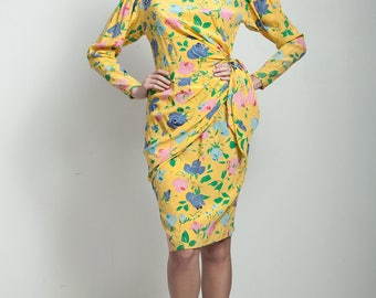 vintage 80s yellow floral print sarong wrap dress colorful SMALL S