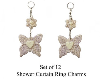 Decorative Shower Curtain Ring Charms... Butterflies with flower