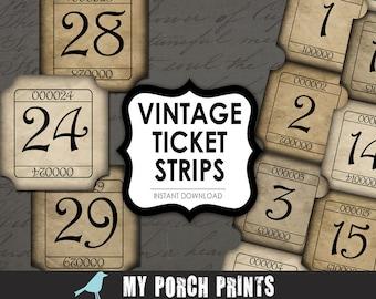 Vintage Tickets, numbers, Strips, scrapbook kit, printable paper, jewelry background, epherma, scrapbooking, postcard, junk journal, tag