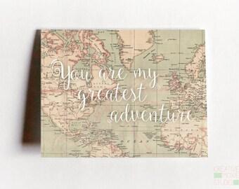 You're My Greatest Adventure Card - Love Card - Fiance Card - Adventure Card - Card for boyfriend - Girlfriend Card - Wedding Card - Love