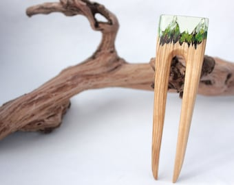 Hair stick Wooden hair fork with resin topper Wood hair fork for women Hairpin with resin Hair sticks Gift for women Hair Jewelry