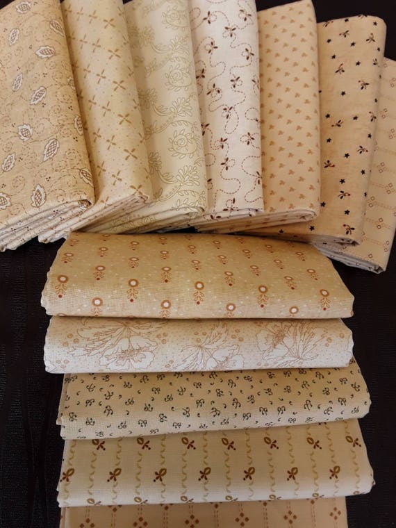Kim Diehl Quilt Fabric Bundle of Half Yards Hand Cut From 12 Butter Churn Basic Creamy Neutrals For Homestyle Patchwork Quilting Group B