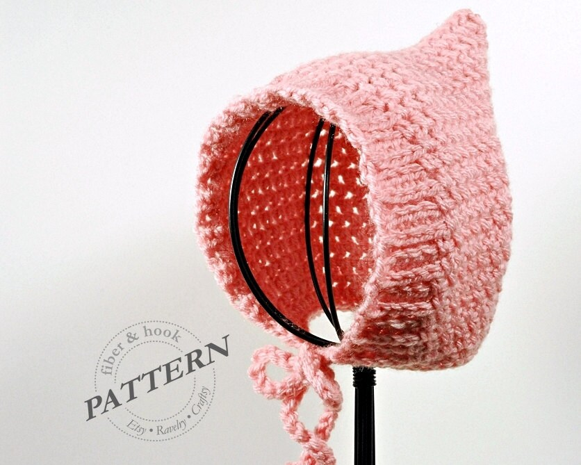 CROCHET PATTERN Ribbed-Edge Baby Pixie Bonnet Pattern Baby