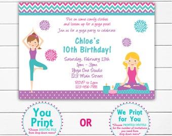 Yoga Birthday Party Invitation  Blue and Purple Yoga Invitation Yoga Party