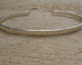 Plain Hammered Finish Thin Sterling Silver Cuff Bracelet