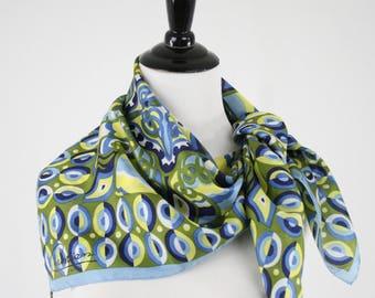 Vintage Christian Paris Elaborate Print Large Square Silk Scarf Designer Scarf