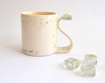 Ceramic Dreamy Whale Mug/ Ceramic Dreamy Whale Cup in Earthenware, Decorated with Green and Yellow Polka Dots. Ready To Ship