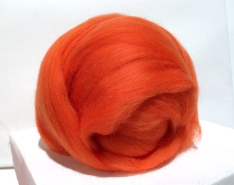 Orange Merino Roving, Needle Felting Spinning Fiber, Merino wool, felting wool, orange wool, orange roving, pumpkin