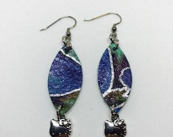 Leather earrings, Leather, Jewelry, Leather Jewelry, Drop Earrings, Little girl's earrings, Small earrings, Petite earrings, Cat charm earri