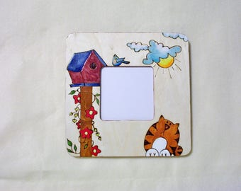 cat and bird house bluebird flowers picture photo frame 8x8 inch square 3.81x3.81 inch photo space pyrography wood burning w/ wall hanger