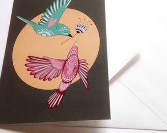 Love birds card  - Valentine's Day card - greeting card (blank)
