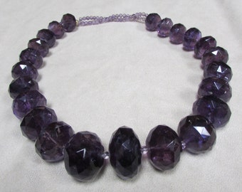 Huge Faceted Amethyst Bead Necklace