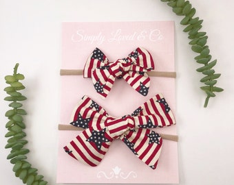 American Flag Hand-tied Knotted Bow