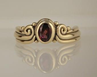 Garnet Ring/ Gold Garnet Ring/ Rhodolite Garnet/ Bezel Set/ Scrolls/ Swirls/ Oval Garnet/ January Birthstone/ Mothers ring/ One of a Kind