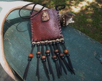 BREYA //  Native. Made to order. handmade. pouch. medicine bag. amulet. brown leather. antler. beads. natural hemp.