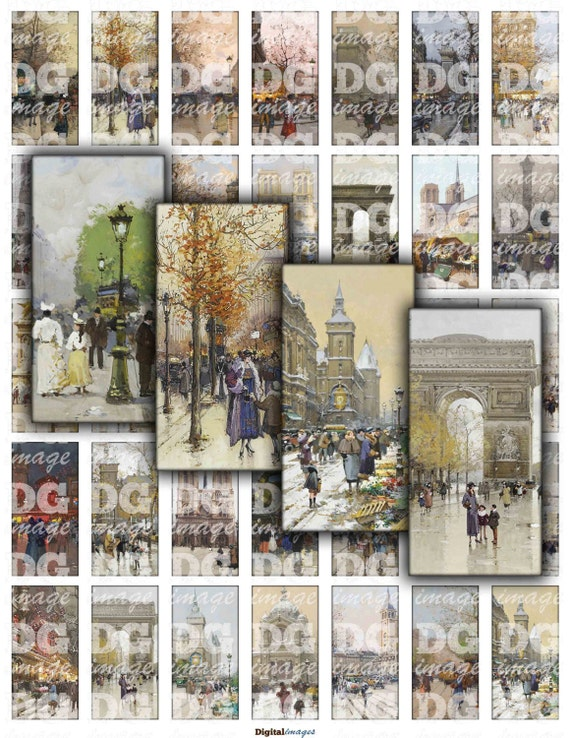 vintage watercolor paris 1x2 domino digital collage sheet. Black Bedroom Furniture Sets. Home Design Ideas