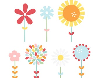 Hello Sunshine Blooms Digital Clipart Clip Art Illustrations - instant download - limited commercial use ok