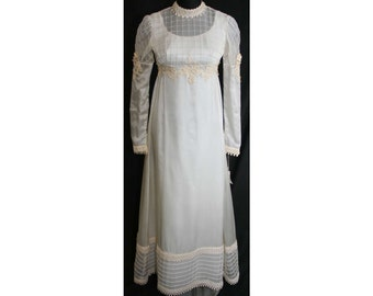 Size 8 Wedding Dress - Lattice Tucked 1960s Empire Bridal Gown with Romantic Juliet Sleeves - New With Tag - Bust 35.5 - Waist 27.5 - 31818