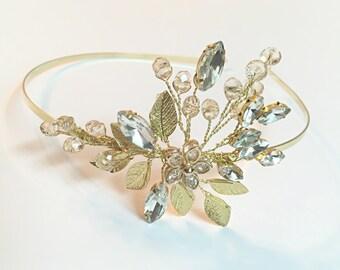 Wedding headband gold, rhinestones tiara bridal headband, crystal headband for bride, wedding hair accessories, tiara headband, bridal hair