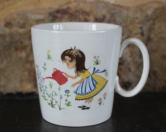Vintage Child Cup Mary, Mary Quite Contrary How Does Your GARDEN Grow? - Gardening Cottage Chic Floral Shabby - ENGLAND James Kent Old Foley