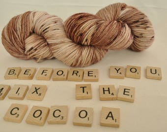 """Hand-dyed yarn, """"Before You Mix The Cocoa"""" variegated, soft and squishy yarn. Great for socks or shawls. 80/20 Superwash wool/Nylon"""