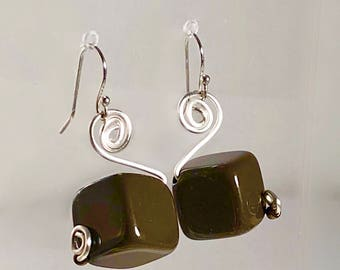 Sterling Chocolate Brown 12mm Ceramic Cube Drop Earrings