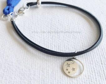 Moon & Stars | Leather Bracelet. Sterling Silver Charm Bracelet. Tassel Charm Bracelet.
