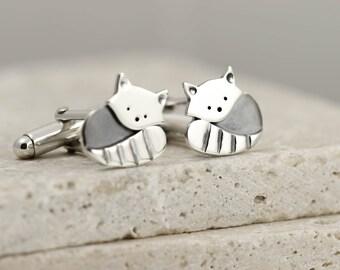 Red Panda Cufflinks - Sterling Silver Cufflinks - Gifts for Men