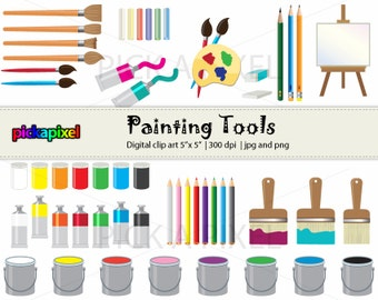 Painting Tools - digital clip art - Personal and Commercial Use