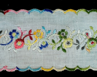 30yds Vintage Multi-Colour Floral Embroidery Broderie Anglaise Lace Trim
