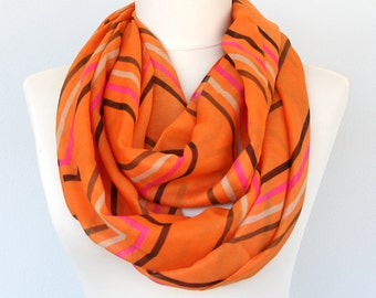 Orange striped scarf summer scarf long scarves for women boho chevron scarf lightweight scarf gift idea for her
