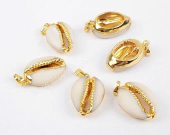 Cowrie shell pendant etsy wholesale gold plated dark white natural cowrie shell pendant bead sea shell beach shell pendants handmade aloadofball Image collections