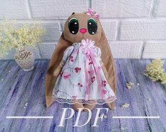 PDF toy Bunny rag doll pattern pdf Bunny pattern doll textile PDF rabbit toy pattern diy doll Bunny linen toy PDF rag doll pattern toy pdf