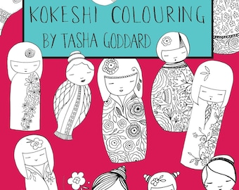 Kokeshi Colouring