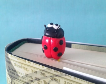 Ladybird Paperclip Bookmark - One Polymer Clay Ladybug Bookmark on Jumbo Paperclip