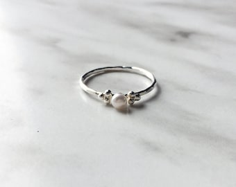 Pearl ring with dots - tiny pearl ring with trio of silver dots - Sterling silver and white pearl ring - genuine freshwater pearl