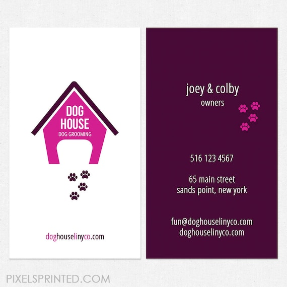 Dog grooming business cards full color both sides free ups colourmoves