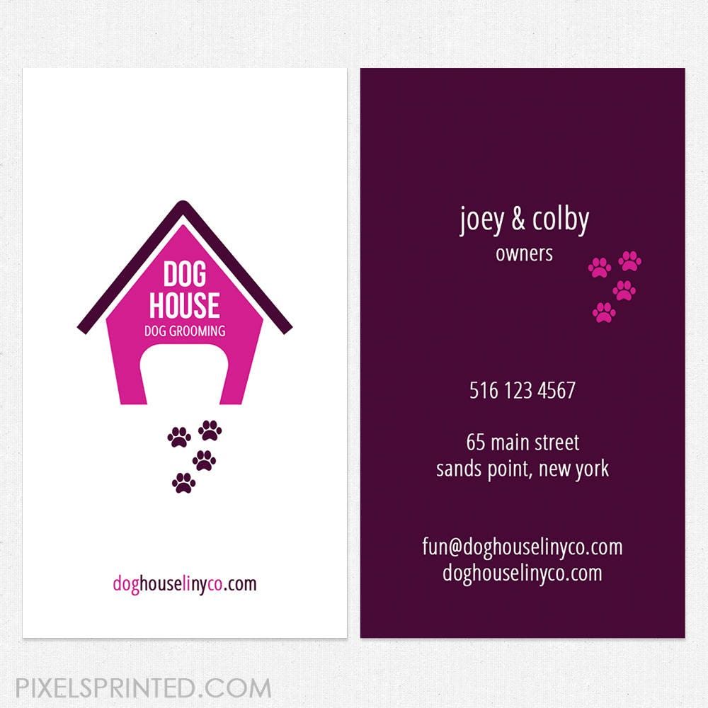 dog grooming business cards full color both sides FREE UPS