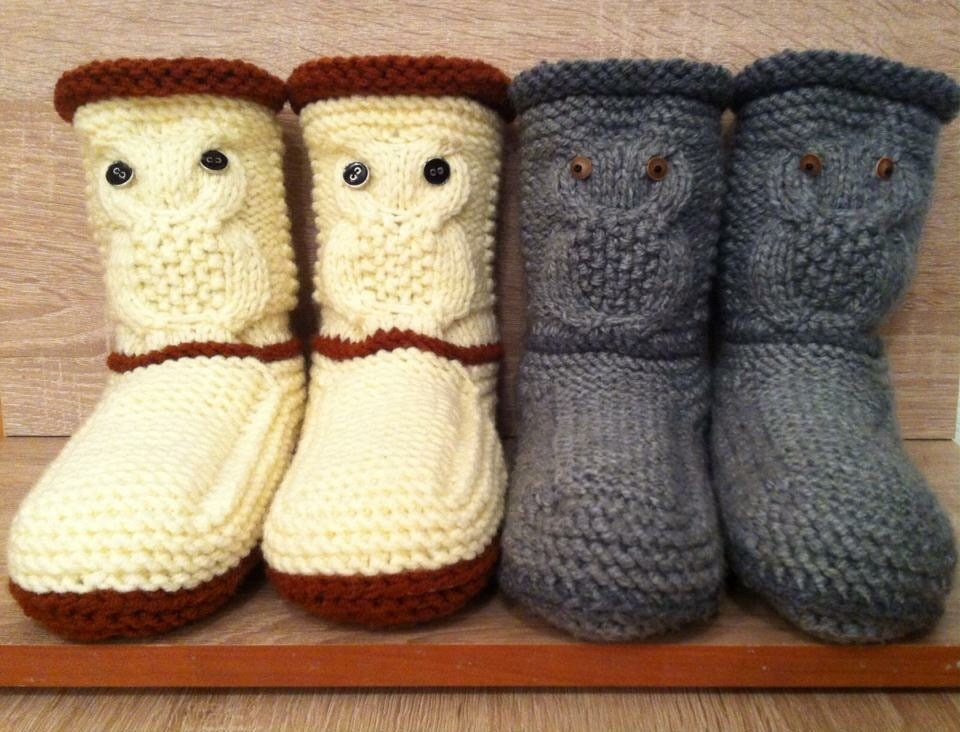 Owl Slippers Knitted Slipper Booties Gray Knit Slippers Knit