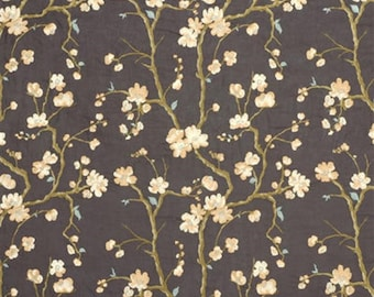 KRAVET COUTURE LEE Jofa Embroidered Floral Linen Fabric 10 Yards Brown Cream Multi