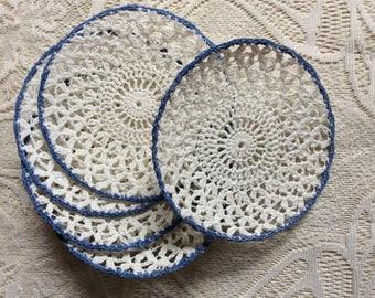 Set of Five (5) Vintage Crocheted Coasters