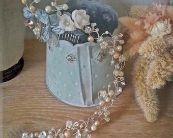 Hochzeit Stirnband Bridal floral Krone AMY, Haar-Rebe, Kristall, Blumen, Silber, Peachy pink, zartes Grün Massanfertigung