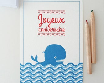 """Happy birthday"" greeting card illustrated with a little blue whale"