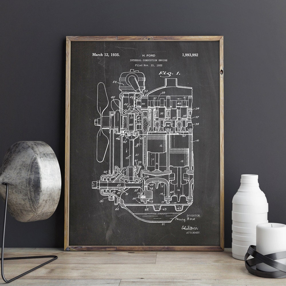internal combustion engine poster combustion engine ice rh etsy com Rotary Engine Diagram Internal Car Engine Diagram